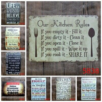 Retro Kitchen Decorations - Kitchen Rules Tin Sign Retro Cafe Hanging signs can do it Wall Plaque Home Decor