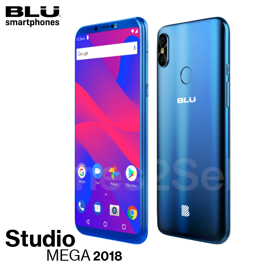 "Android Phone - Blu Studio Mega 2018 6.0"" HD Unlocked Phone Android Oreo (Go Edition) Blue New"