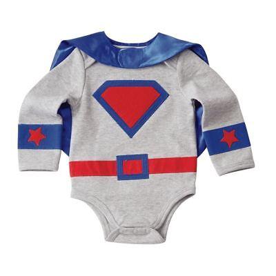 Mud Pie Baby Boy Halloween Costume Superhero Crawler and Cape Set Sz 6-9 Ms - Baby Boys Halloween Costume