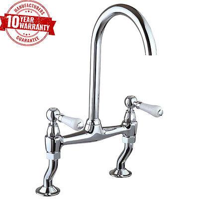 Chrome Traditional Design Bridge Kitchen Sink Mixer Tap with Ceramic Levers