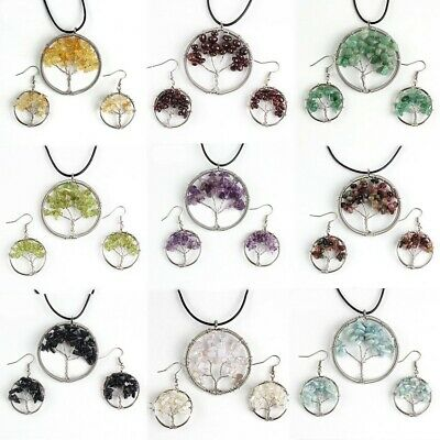 9 Sets Tree of Life Amethyst Agate Citrine Aquamarine Silver Pendant Earrings Amethyst Citrine Jewelry Set