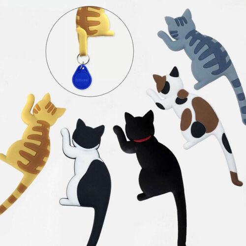 New Cartoon Cat Magnetic Stick On Refrigerator Sticker Hanger Hat Bag Key Hook