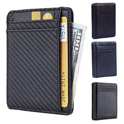 Men RFID Blocking Leather Slim Wallet Money Clip ID Credit Card Case Holder Slim Card Case