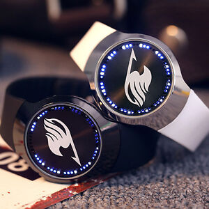 Anime Fairy Tail Logo LED Touch Screen Electronic Watch Glass Wristwatch Gift