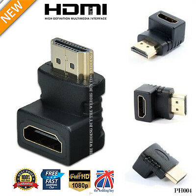 UK Right Angled 270/90 Degree HDMI Male to Female Adapter 1080P Connector PH004