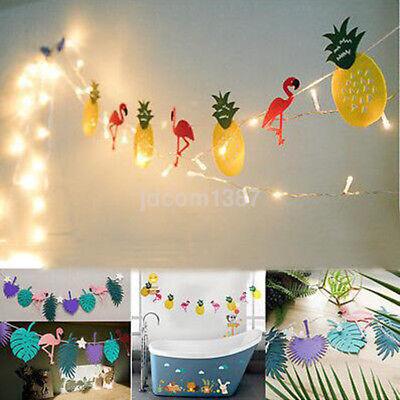 Hawaiian Tropical Flamingo Pineapple Summer Party Decor Banner Garland - Fabric Bunting Banner