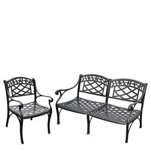 Crosley Ko60004bk 2 Piece Sedona Cast Aluminum Outdoor Seating Set Black