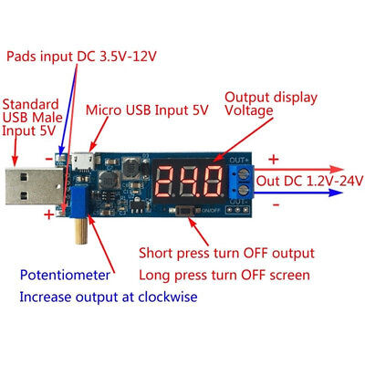 Dc-dc 5v To 3.3v 9v 12v 24v Usb Step Updown Power Module Boost Buck Converter
