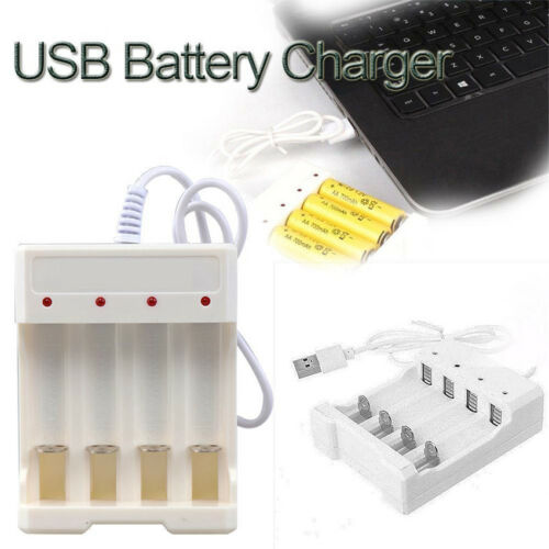 1.2V 4 Slots AA/AAA Rechargeable Battery Fast Charger Adapter USB Plug Compact