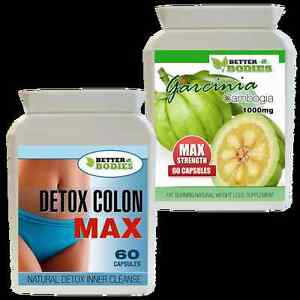 60 GARCINIA CAMBOGIA 1000MG + 60 DETOX MAX COLON CLEANSE WEIGHT LOSS DIET PILLS