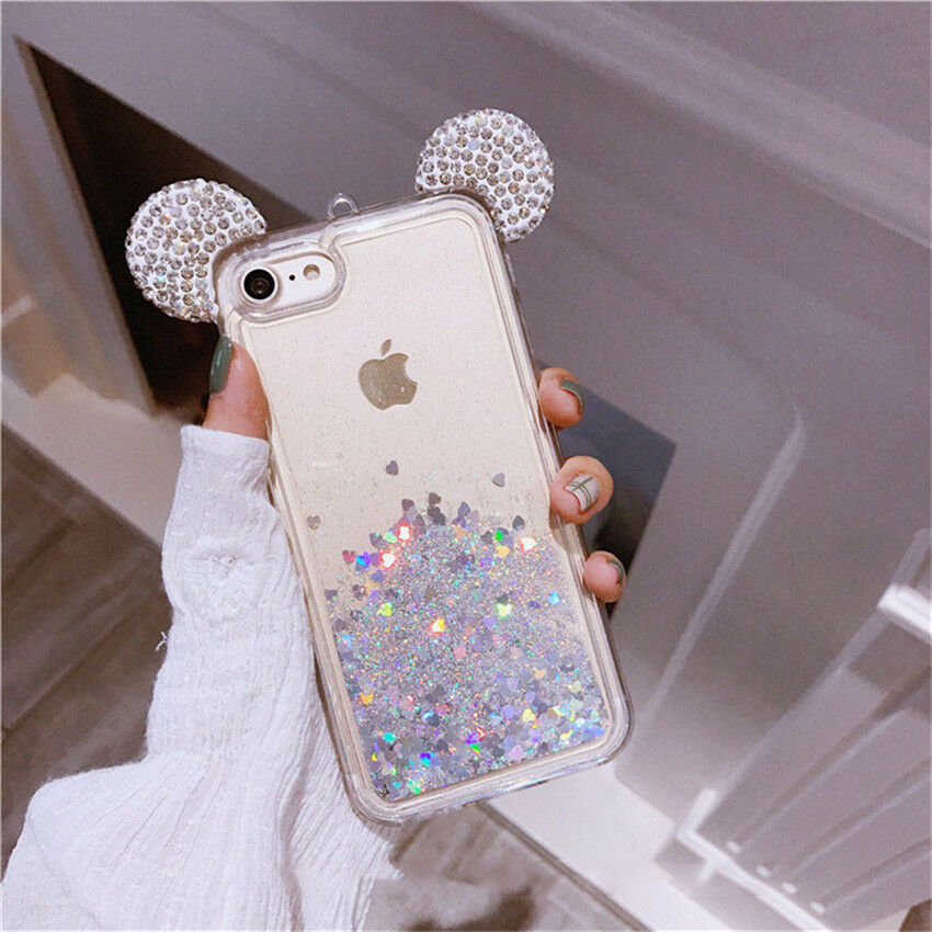Float Holographic Heart Mickey Ear Liquid Waterfall Glitter Disney Case iPhone
