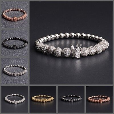 Mens Copper 8MM Gold Pave CZ Cubic Zirconia Crown Charm Beaded Bracelet Jewelry