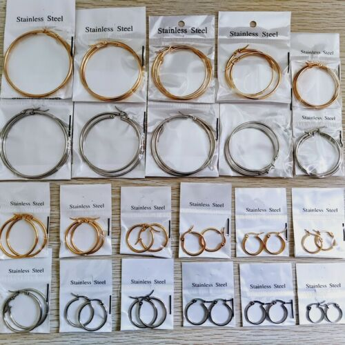 22Pairs Gold Silver Classic Stainless Steel Circle Hoop Earrings Sizes 6cm-1.5cm