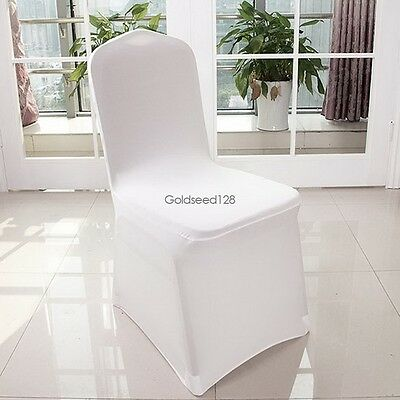 100 PCS White Spandex Folding Chair Covers Wedding Party Banquet Decor Reception