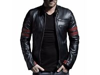 "Men's Slim Fit Jacket Genuine Sheep Leather Black Biker Style Jacket - 4XL - For Chest 50""- 52"""