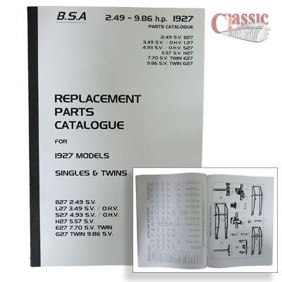 BSA 1927 Parts Book- All Models