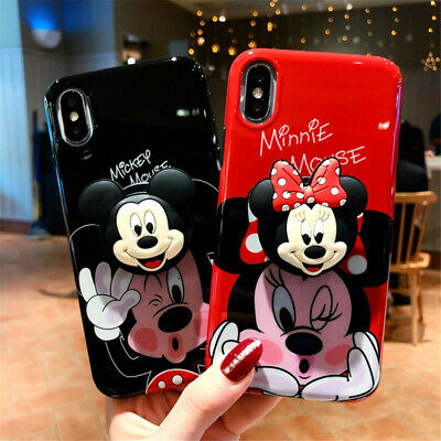 For iPhone X XS Max XR 8 7 6 Cute Cartoon Disney Minnie Toy Stand Soft Back case