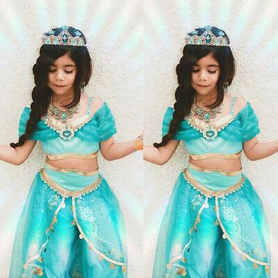Ups Girl Costume (Girl Princess Jasmine Fancy Dress Up Cosplay Party Costume)
