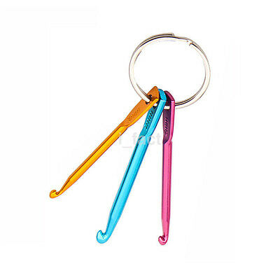 3pcs Practical Mixed Aluminum Knit Needle Crochet Hook Needle Keychain Gift CA