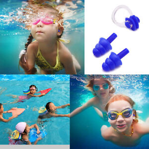 Blue Soft Kids In Ear Plugs And Nose Clip Set for Under Aged 10 Swimming Diving