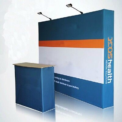 10ft Custom Fabric Tension Stand Booth Pop Up Display Show Backdrop Wall Fashion