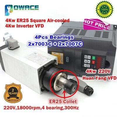 4kw 220v Square Air Cooled Spindle Motor Er254kw Vfd Inverter Engraving Cnc
