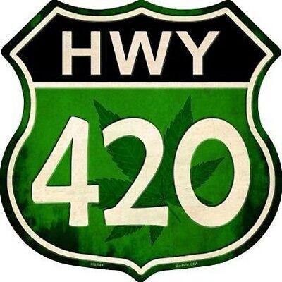 HIGHWAY 420 CANNABIS MARIJUANA ALUMINUM METAL NOVELTY HIGHWAY SHIELD SIGN
