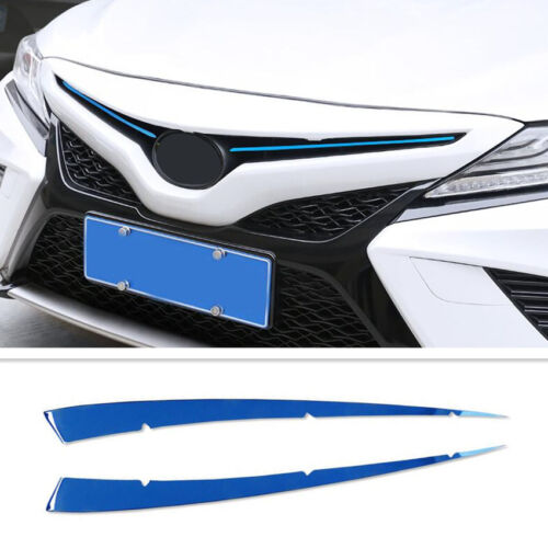 2Pcs For Toyota Camry 2018 Stainless Steel Blue Front Net Decorative Strip Trim