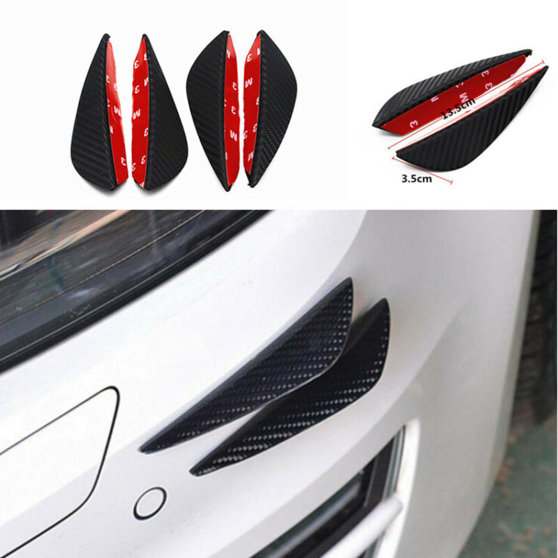 Car Front Bumper Lip Splitter Fins 4Pcs Body Spoiler Strip Canards Valence Chin