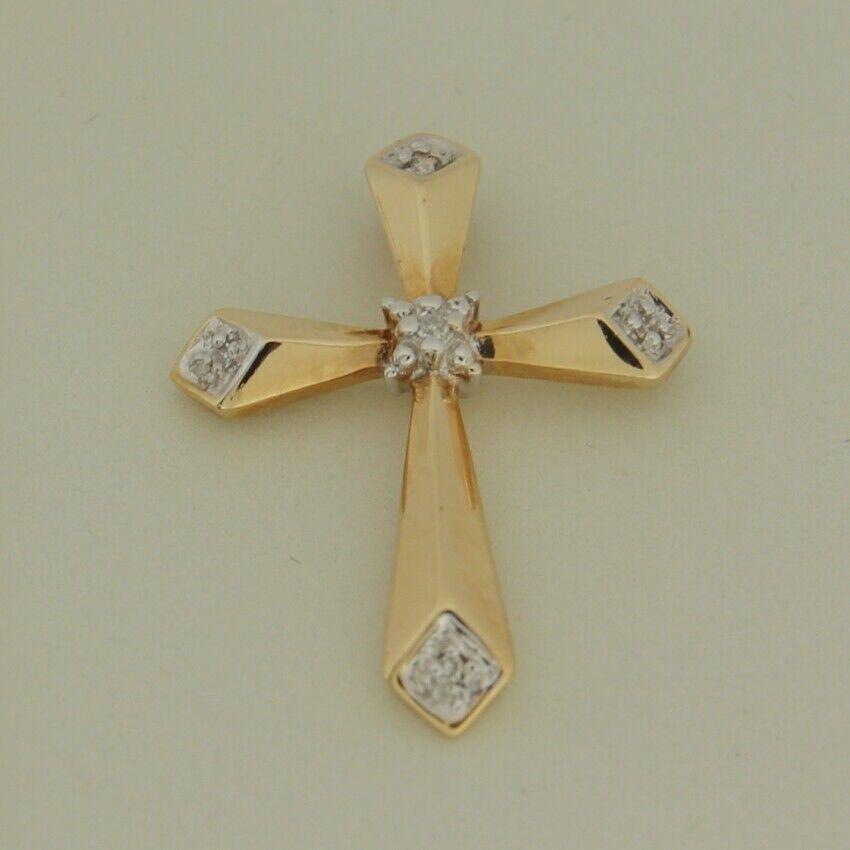 Image of 0 025 Cts Religieux Croix Diamant 14K or Jaune Pendentif