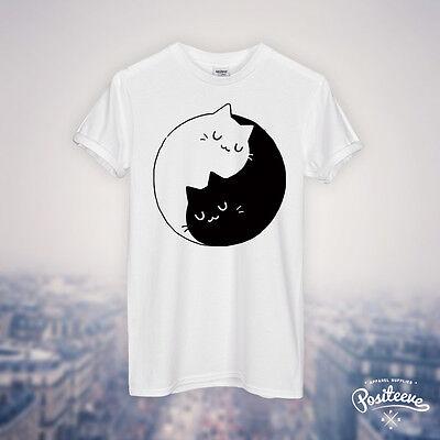 YIN YANG CATS KITTENS T SHIRT TOP TEE HIPSTER FASHION UNICORN CUTE SWEET HUG