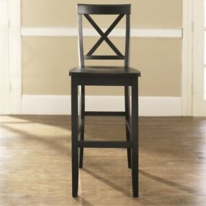 Crosley Furniture X Back Bar Stool In Black Finish With 30 Inch Seat