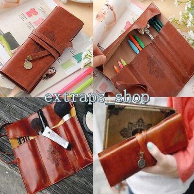 Vintage PU Leather Pencil Pen Case Cosmetic Pouch Pocket Brush Makeup Bag E