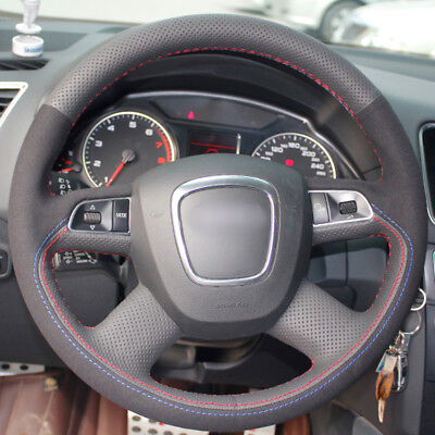 Black Leather Black Suede Steering Wheel Cover for Audi Old A4 B7 B8 A6 C6 2004