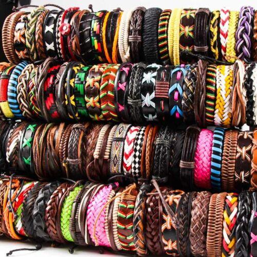 Wholesale lot 30pcs Mix Style Genuine Handmade Leather Cuff Bracelets Wristband
