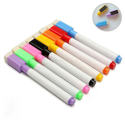 Set Of 5 Color Magnet Pens Magnetic Dry Wipe White Board Markers Built In Erase