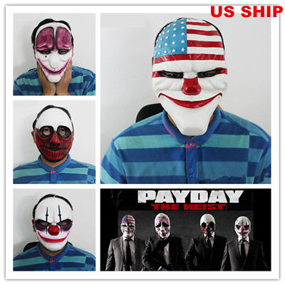 US! Adults Payday2 Mask Heist Joker Wolf Costume Cosplay Prop Halloween Hoxton - Payday 2 Halloween Masks