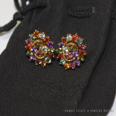 AUTHENTIC H.STERN RAINBOW MULTI COLOR GEMSTONE 18K YELLOW GOLD CLIP EARRINGS, used for sale  Honolulu