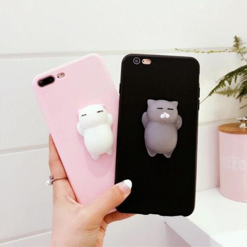 Hot Sale Squishy 3D Soft Silicone Cat Bear TPU Phone Case Cute Cover For iPhone