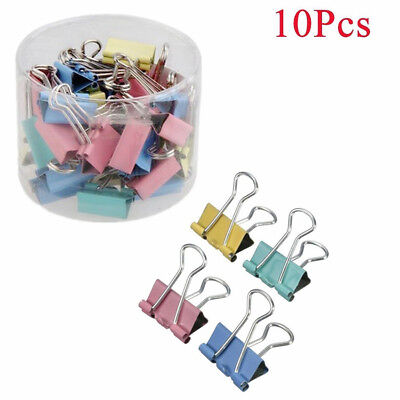 Hot 10pcs Binder Clip 19mm Metal Classic Office Stationery Paper Documents Clip