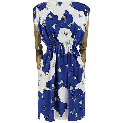 Julien David White Royal Blue Party Hat Printed Pure Silk Dress S IT40 UK8