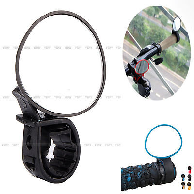 Black Bicycle Cycling Handle Bar End Rearview Side Mirrors 360°Rotate Bike ZB