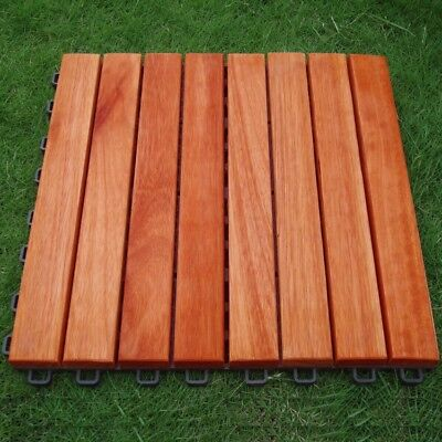 Eucalyptus Hardwood - 8 Straight Slat Design - Interlocking Wood Deck Tile ()