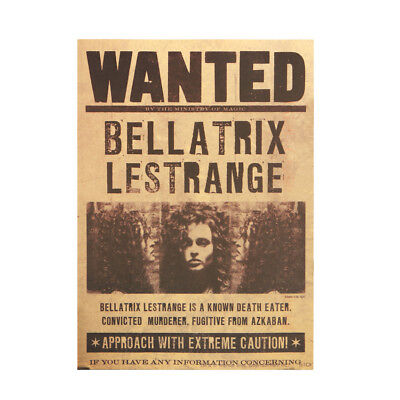 Harry Potter Wanted Bellatrix Lestrange Vintage Retro Kraft Paper Poster