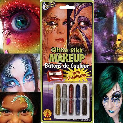 Face Body Make-up Glitter Sticks Pack of 5 Free Sharpener Halloween Party Kit - Mardi Gras Halloween Makeup
