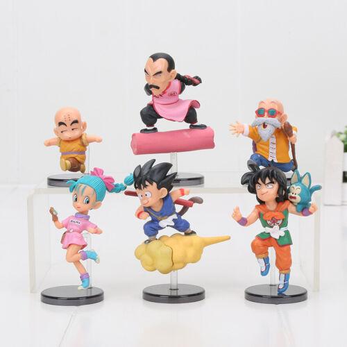 6pcs/set Dragon Ball Goku kuririn Yamcha Master Roshi  Action Figure Doll Gift