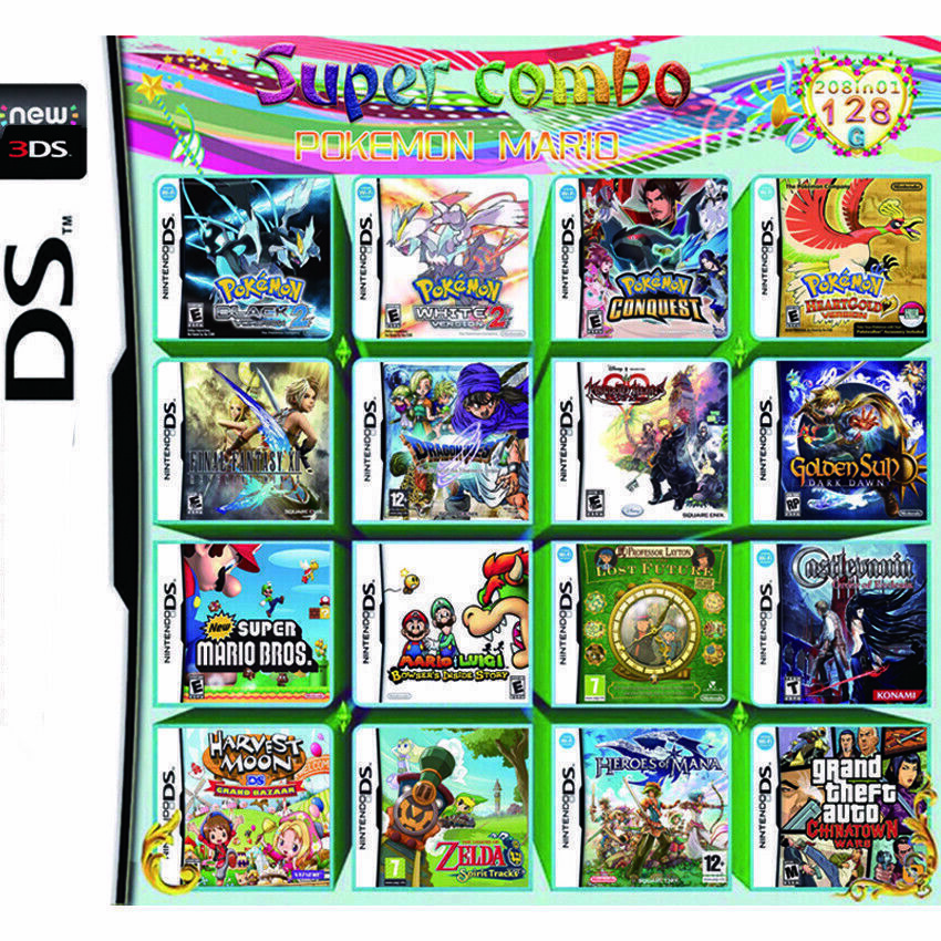 Super Game 208 in 1 Video Games Cartridge for Nintendo NDS N