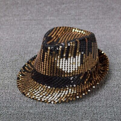 Hat Jazz Dance Fedora Trilby Clubwear Party Glitter Fashion (Glitter Top Hat)