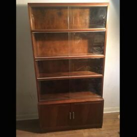 Vintage Glass Fronted Oak Shelving Unit by Minty