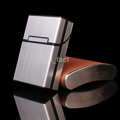 New Men's Portable Metal Cigarette Case Box Holder Cigaret Container Sliver US
